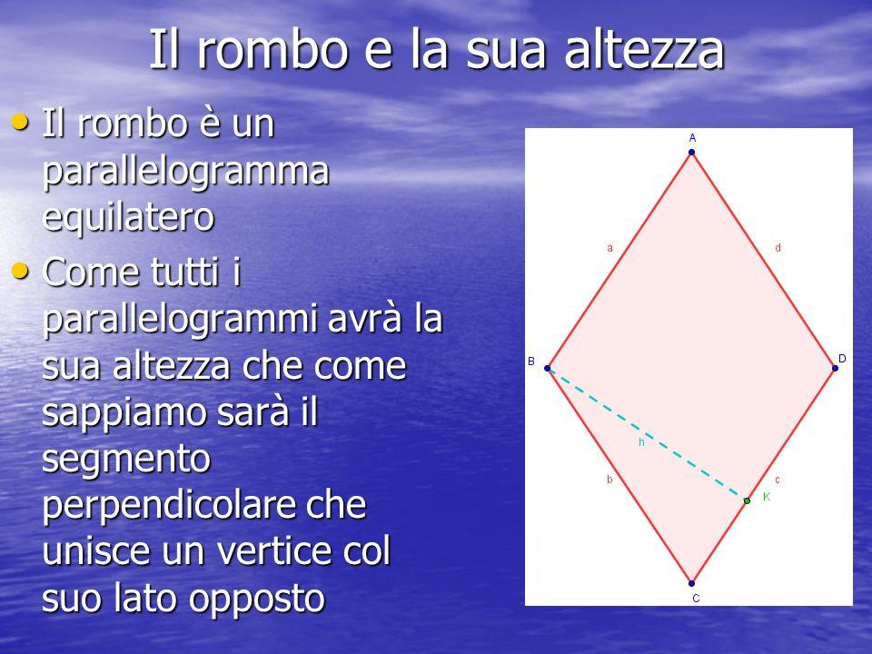 Il rombo e la sua altezza Il rombo è un parallelogramma equilatero Come tutti i parallelogrammi avrà la sua altezza che come sappiamo sarà il segmento