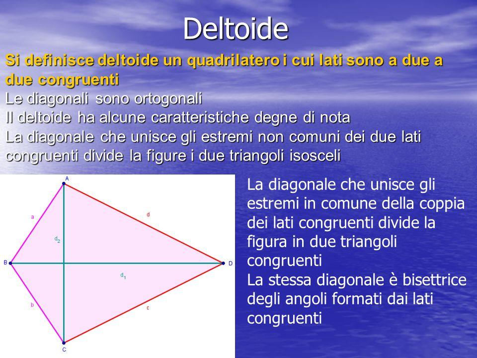 Deltoide La diagonale che unisce gli estremi in comune della coppia dei lati congruenti divide la figura in due triangoli congruenti La stessa diagona