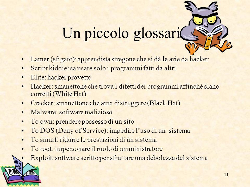 11 Un piccolo glossario Lamer (sfigato): apprendista stregone che si dà le arie da hacker Script kiddie: sa usare solo i programmi fatti da altri Elit