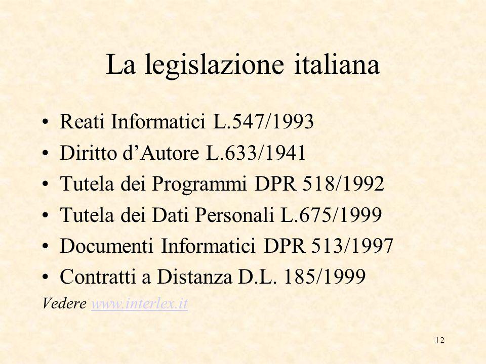 12 La legislazione italiana Reati Informatici L.547/1993 Diritto dAutore L.633/1941 Tutela dei Programmi DPR 518/1992 Tutela dei Dati Personali L.675/