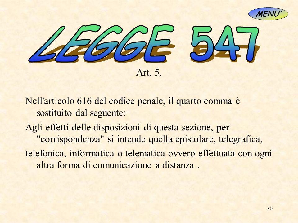 30 Art. 5. Nell'articolo 616 del codice penale, il quarto comma è sostituito dal seguente: Agli effetti delle disposizioni di questa sezione, per