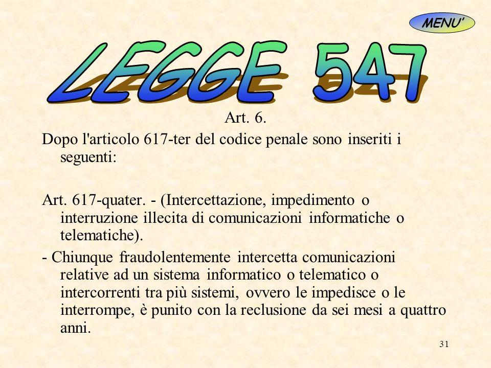 31 Art. 6. Dopo l'articolo 617-ter del codice penale sono inseriti i seguenti: Art. 617-quater. - (Intercettazione, impedimento o interruzione illecit