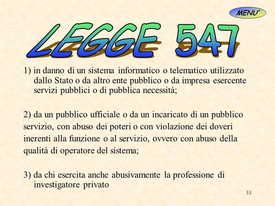 33 1) in danno di un sistema informatico o telematico utilizzato dallo Stato o da altro ente pubblico o da impresa esercente servizi pubblici o di pub