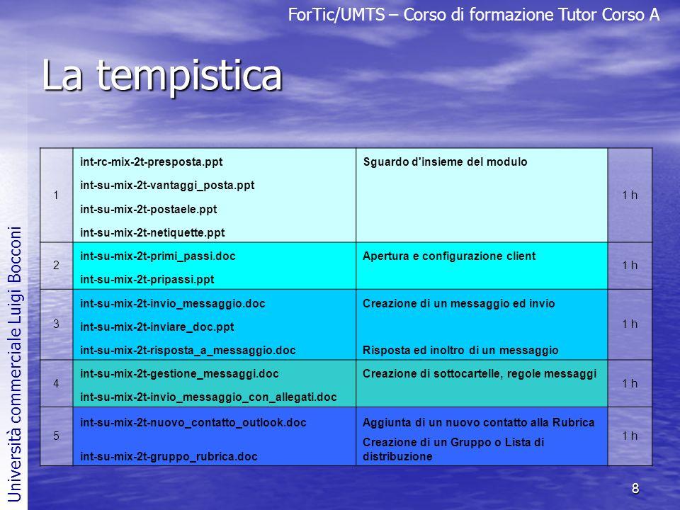 ForTic/UMTS – Corso di formazione Tutor Corso A Università commerciale Luigi Bocconi 8 La tempistica 1 int-rc-mix-2t-presposta.pptSguardo d'insieme de