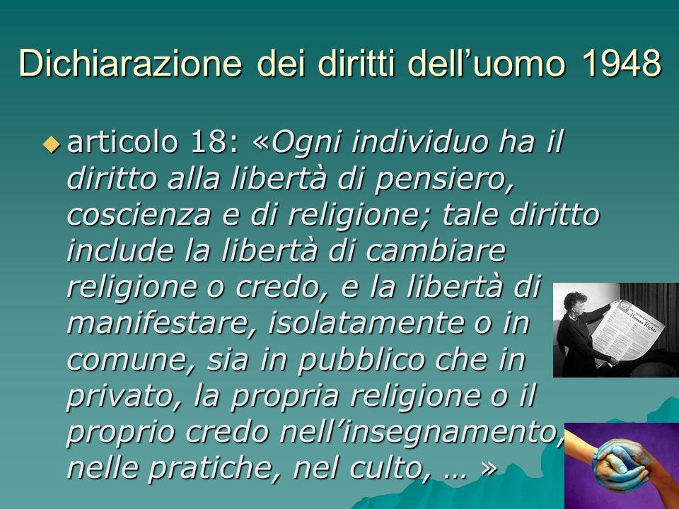 Dichiarazione dei diritti delluomo 1948 articolo 18: «Ogni individuo ha il diritto alla libertà di pensiero, coscienza e di religione; tale diritto in