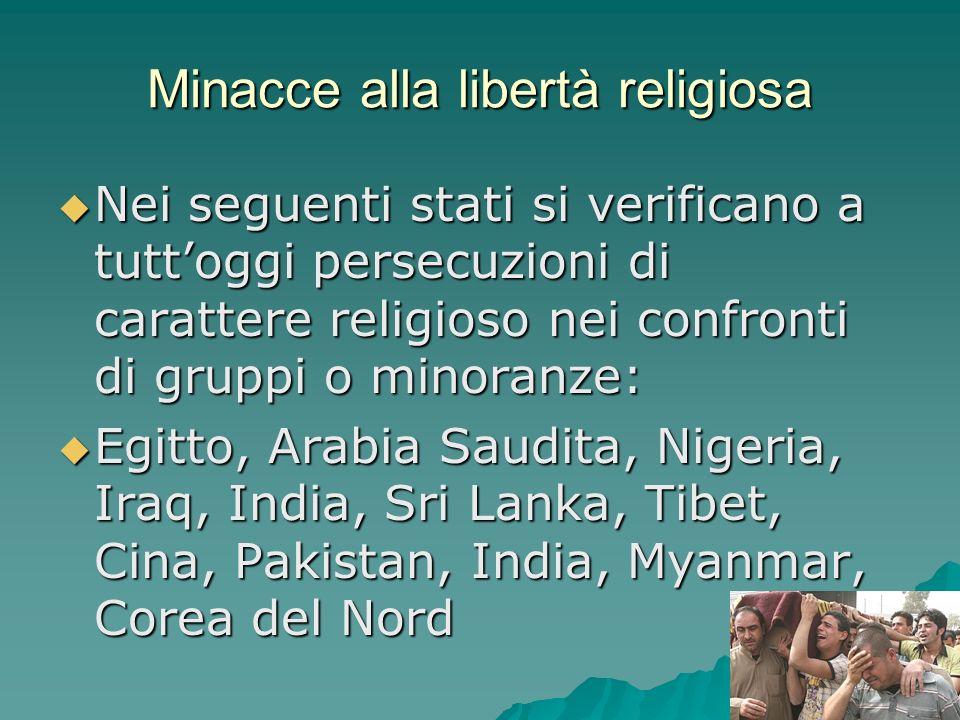 Minacce alla libertà religiosa Nei seguenti stati si verificano a tuttoggi persecuzioni di carattere religioso nei confronti di gruppi o minoranze: Ne