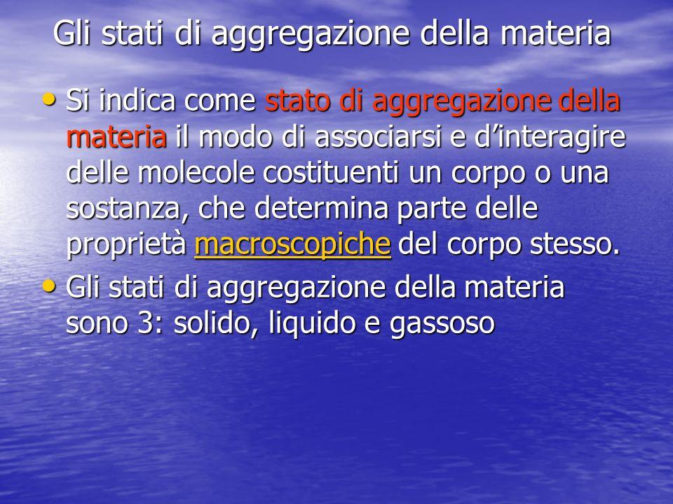 Gli stati di aggregazione della materia Si indica come stato di aggregazione della materia il modo di associarsi e dinteragire delle molecole costitue