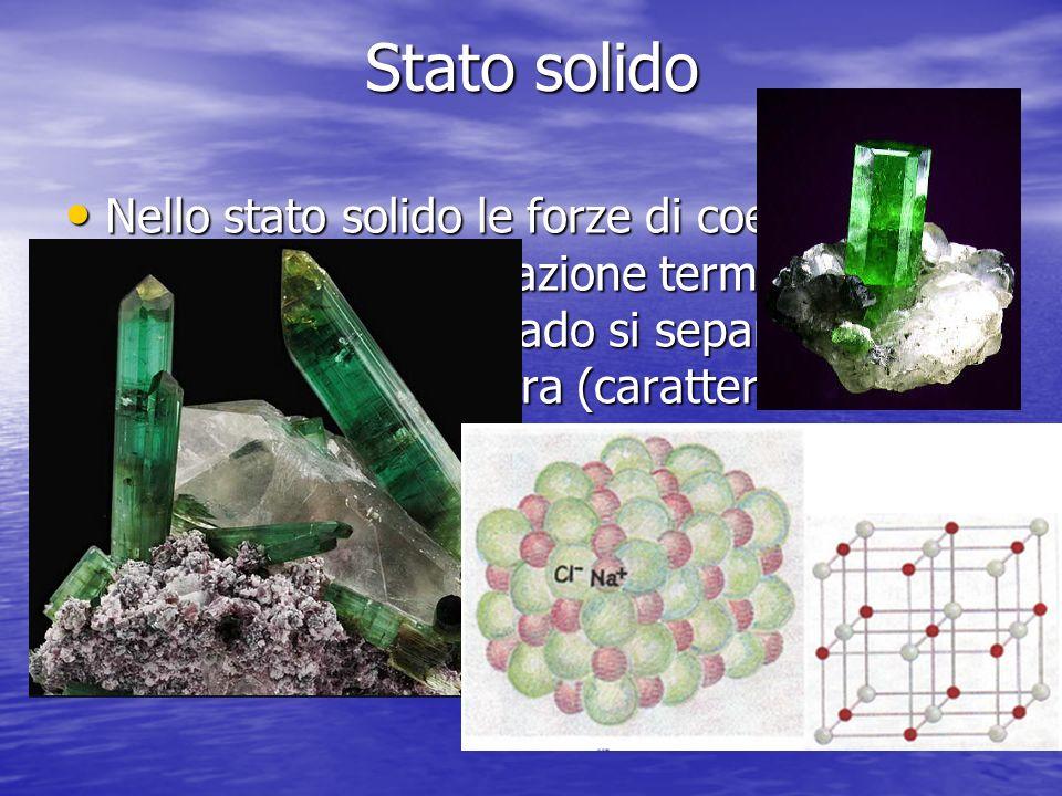Stato solido Nello stato solido le forze di coesione sono elevatissime e lagitazione termica non è assolutamente in grado si separare le molecole una