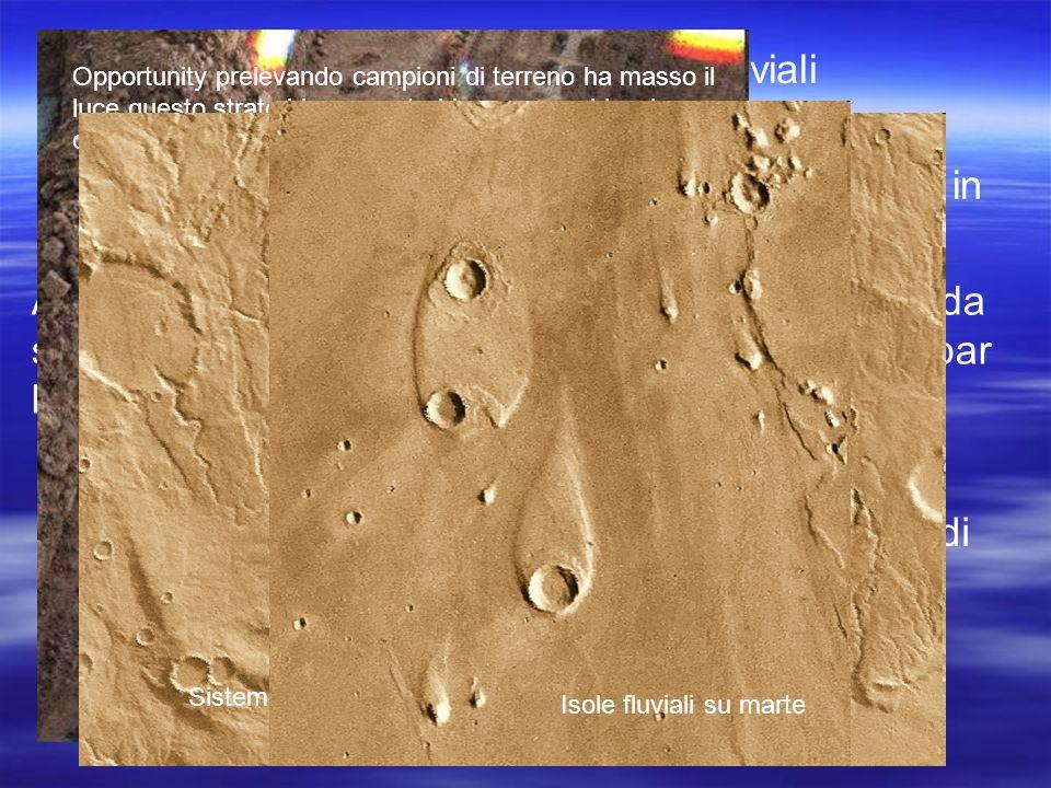 Ci sono su Marte alcuni antichi letti fluviali disseccati con evidenti segni di erosione In passato, quindi, l acqua sembra essere esistita in quantità piuttosto abbondanti sul pianeta Attualmente non esiste invece acqua in forma liquida sulla sua superficie: alla pressione media di 6 millibar l acqua evapora a 0 gradi centigradi, cioè sublima.