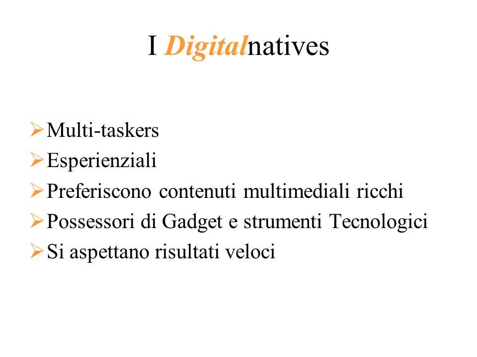 I Digitalnatives Multi-taskers Esperienziali Preferiscono contenuti multimediali ricchi Possessori di Gadget e strumenti Tecnologici Si aspettano risu