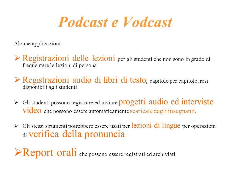 Podcast e Vodcast Alcune applicazioni: Registrazioni delle lezioni per gli studenti che non sono in grado di frequentare le lezioni di persona Registr