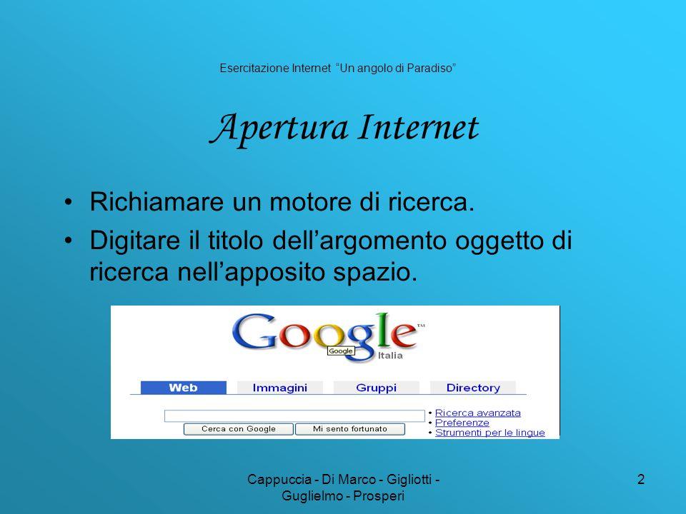 Cappuccia - Di Marco - Gigliotti - Guglielmo - Prosperi 2 Richiamare un motore di ricerca. Digitare il titolo dellargomento oggetto di ricerca nellapp