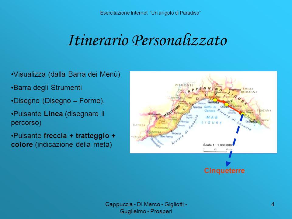 Cappuccia - Di Marco - Gigliotti - Guglielmo - Prosperi 4 Itinerario Personalizzato Visualizza (dalla Barra dei Menù) Barra degli Strumenti Disegno (Disegno – Forme).