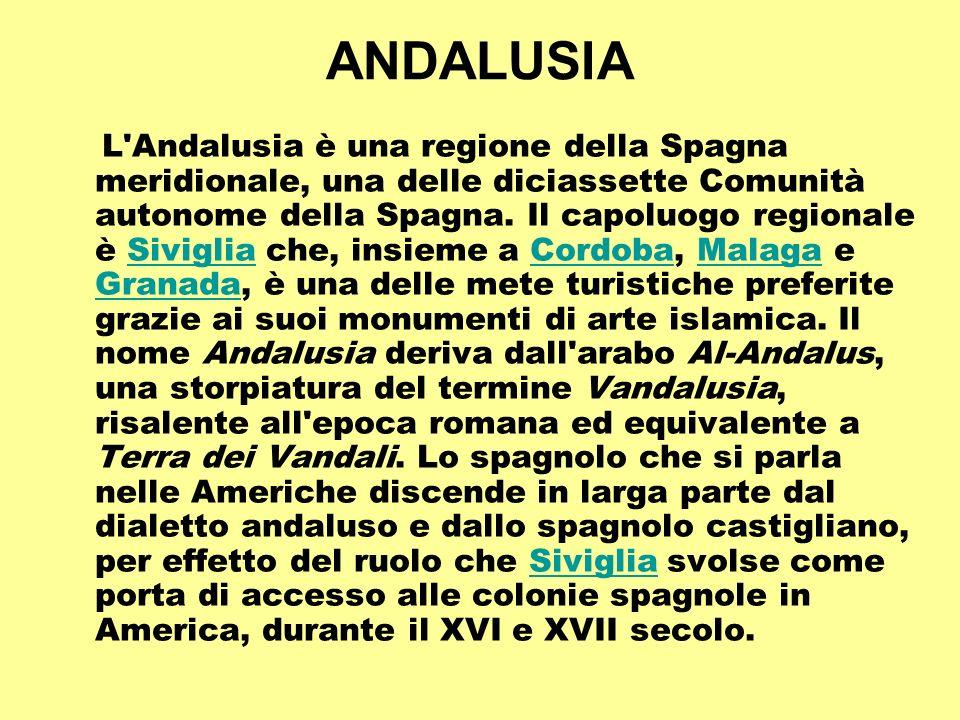 ANDALUSIA L'Andalusia è una regione della Spagna meridionale, una delle diciassette Comunità autonome della Spagna. Il capoluogo regionale è Siviglia