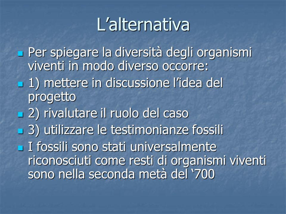 Lalternativa Per spiegare la diversità degli organismi viventi in modo diverso occorre: Per spiegare la diversità degli organismi viventi in modo dive