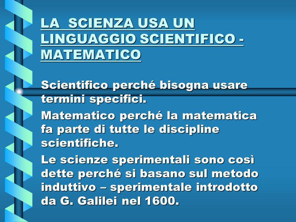 LA SCIENZA USA UN LINGUAGGIO SCIENTIFICO - MATEMATICO Scientifico perché bisogna usare termini specifici.