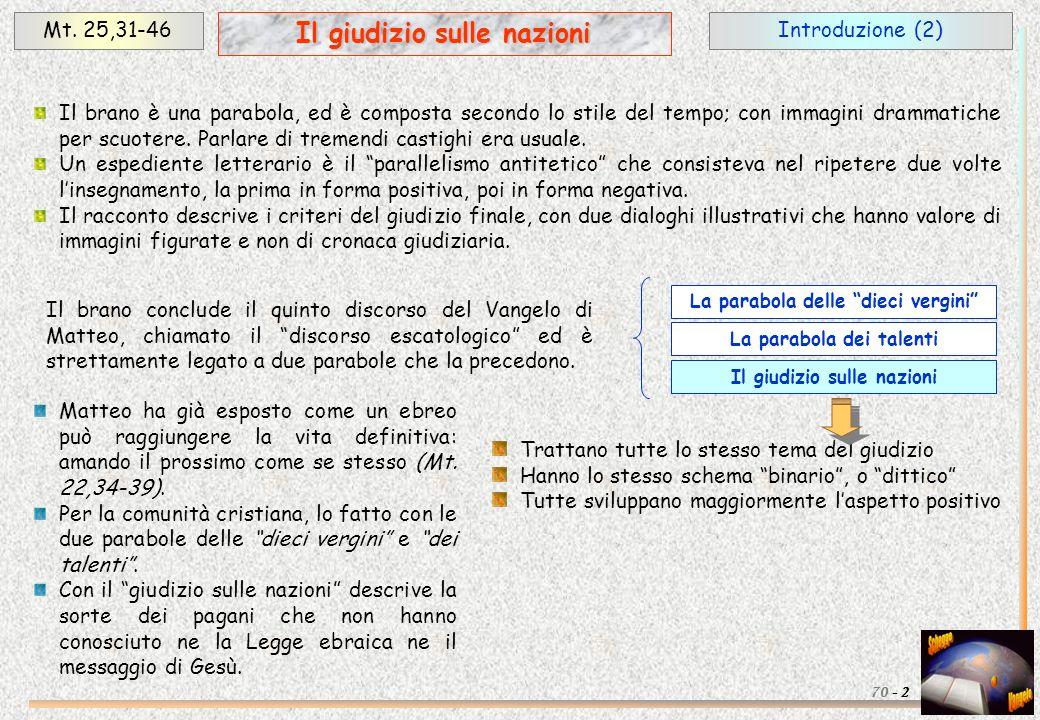 Introduzione (2)Mt. 25,31-46 2 Il giudizio sulle nazioni 70 - Il brano è una parabola, ed è composta secondo lo stile del tempo; con immagini drammati