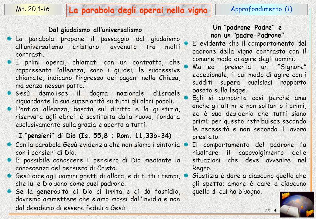 Approfondimento (1)Mt. 20,1-16 4 La parabola degli operai nella vigna 18 - La parabola propone il passaggio dal giudaismo alluniversalismo cristiano,