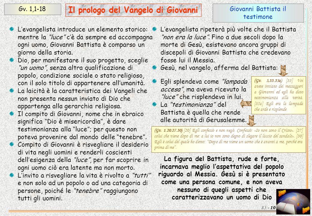 Giovanni Battista il testimone Gv. 1,1-18 10 Il prologo del Vangelo di Giovanni 35 - Levangelista introduce un elemento storico: mentre la luce cè da