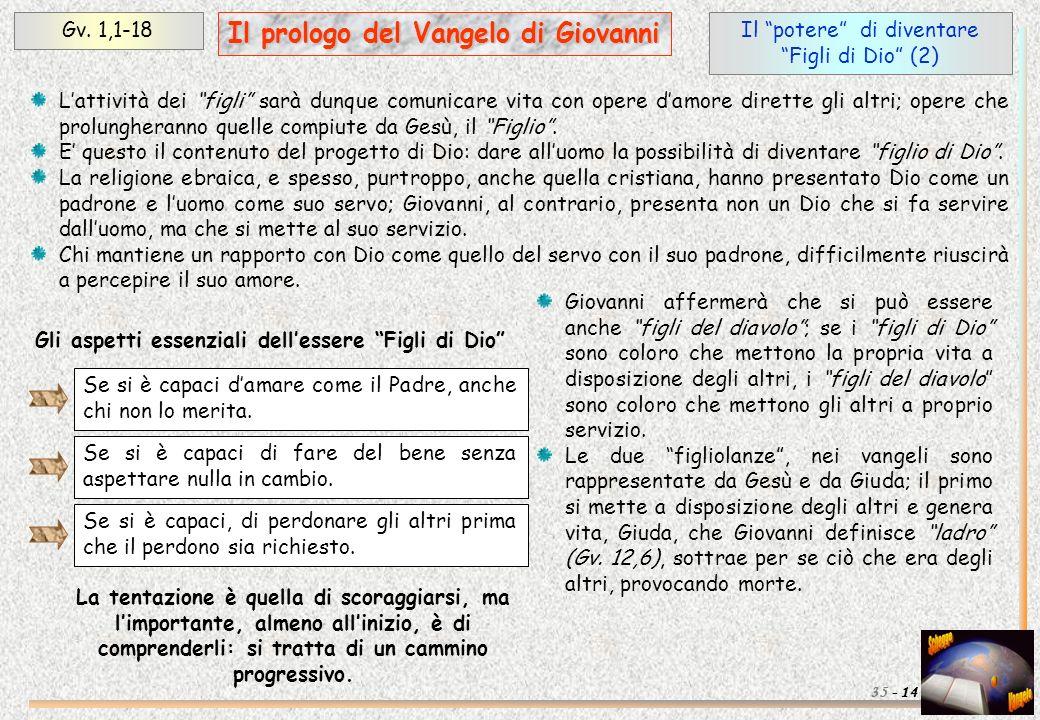 Il potere di diventare Figli di Dio (2) Gv. 1,1-18 14 Il prologo del Vangelo di Giovanni 35 - Lattività dei figli sarà dunque comunicare vita con oper