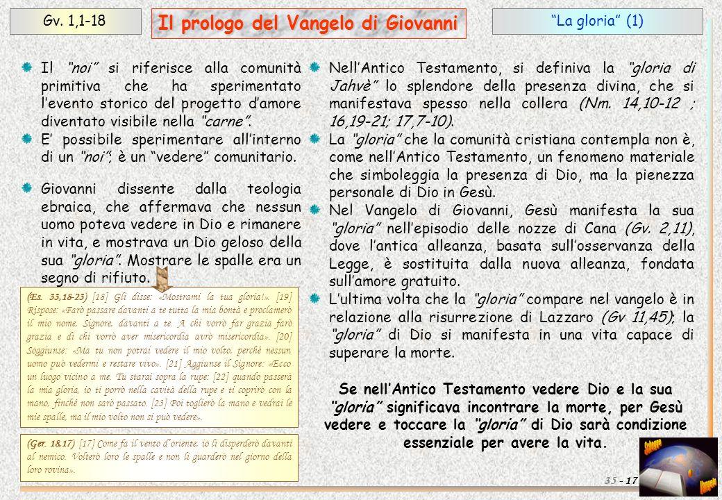 La gloria (1)Gv. 1,1-18 17 Il prologo del Vangelo di Giovanni 35 - Il noi si riferisce alla comunità primitiva che ha sperimentato levento storico del