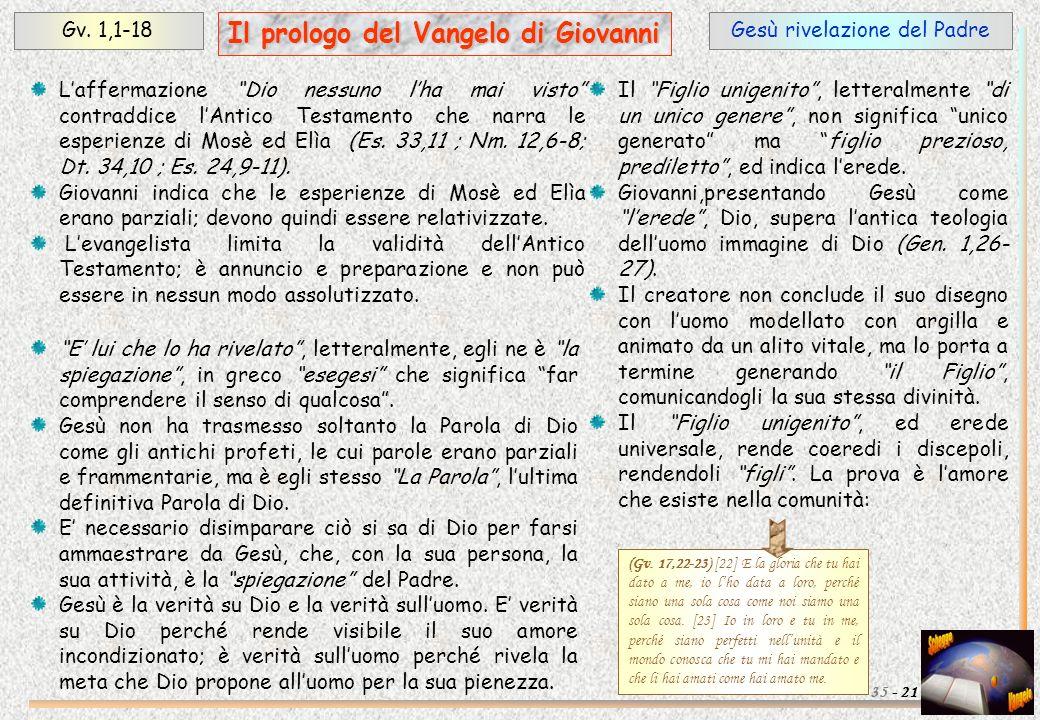 Gesù rivelazione del PadreGv. 1,1-18 21 Il prologo del Vangelo di Giovanni 35 - Laffermazione Dio nessuno lha mai visto contraddice lAntico Testamento