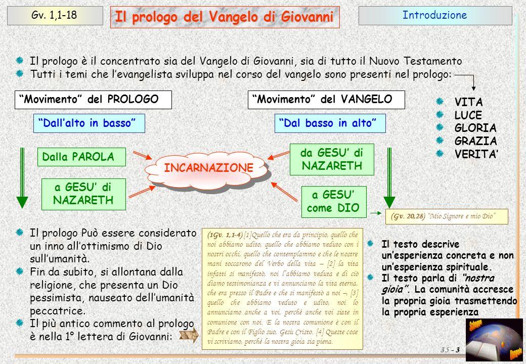 IntroduzioneGv. 1,1-18 3 Il prologo del Vangelo di Giovanni 35 - (1Gv. 1,1-4) [1]Quello che era da principio, quello che noi abbiamo udito, quello che