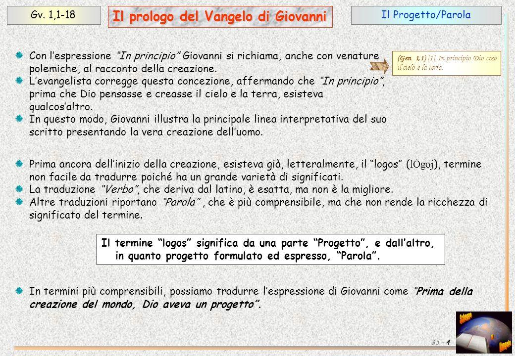 Il Progetto/ParolaGv. 1,1-18 4 Il prologo del Vangelo di Giovanni 35 - Con lespressione In principio Giovanni si richiama, anche con venature polemich