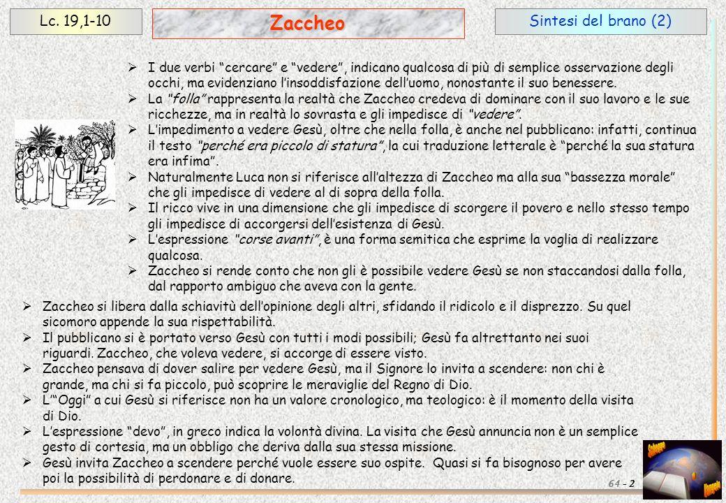 Sintesi del brano (2)Lc. 19,1-10 2 Zaccheo 64 - I due verbi cercare e vedere, indicano qualcosa di più di semplice osservazione degli occhi, ma eviden