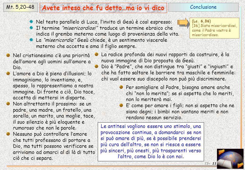 ConclusioneMt. 5,20-48 11 Avete inteso che fu detto…ma io vi dico 73- Nel testo parallelo di Luca, linvito di Gesù è così espresso: Il termine miseric