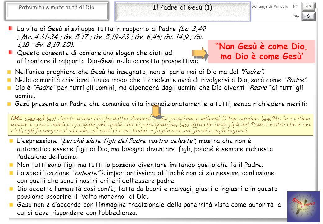 42 Paternità e maternità di Dio Il Padre di Gesù (1) 6 Pag. Schegge di VangeloN° La vita di Gesù si sviluppa tutta in rapporto al Padre (Lc. 2,49 ; Mc