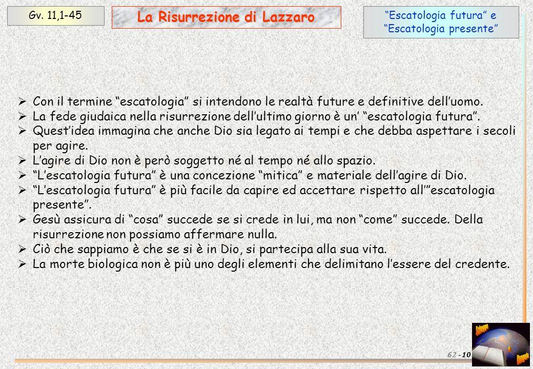 Escatologia futura e Escatologia presente Gv. 11,1-45 La Risurrezione di Lazzaro 1062 - Con il termine escatologia si intendono le realtà future e def