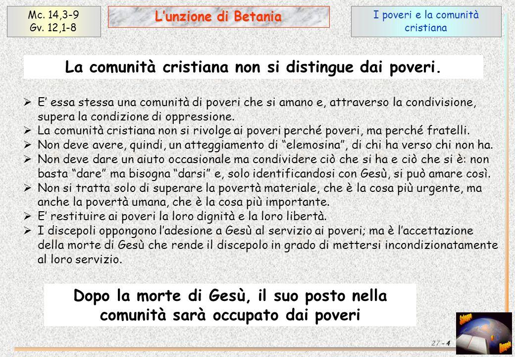 I poveri e la comunità cristiana Mc. 14,3-9 Gv. 12,1-8 4 Lunzione di Betania 27 - E essa stessa una comunità di poveri che si amano e, attraverso la c