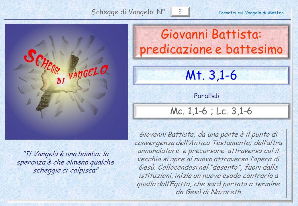 2 Giovanni Battista: predicazione e battesimo Schegge di VangeloN°