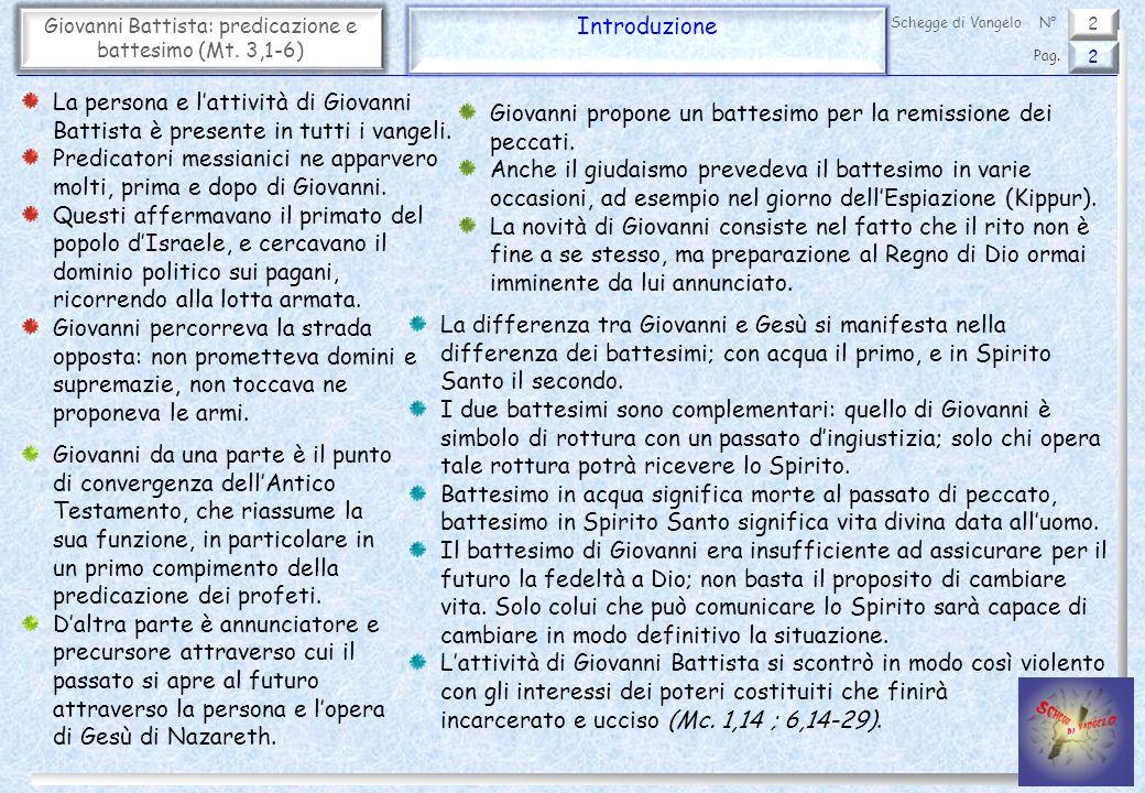 2 Giovanni Battista: predicazione e battesimo (Mt. 3,1-6) Introduzione 2 Pag. Schegge di VangeloN° La persona e lattività di Giovanni Battista è prese