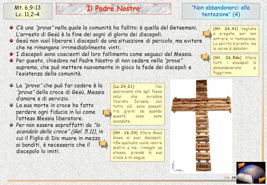Non abbandonarci alla tentazione (4) 29 Il Padre Nostro Mt. 6,9-13 Lc. 11,2-4 74- Cè una prova nella quale la comunità ha fallito; è quella del Getsem