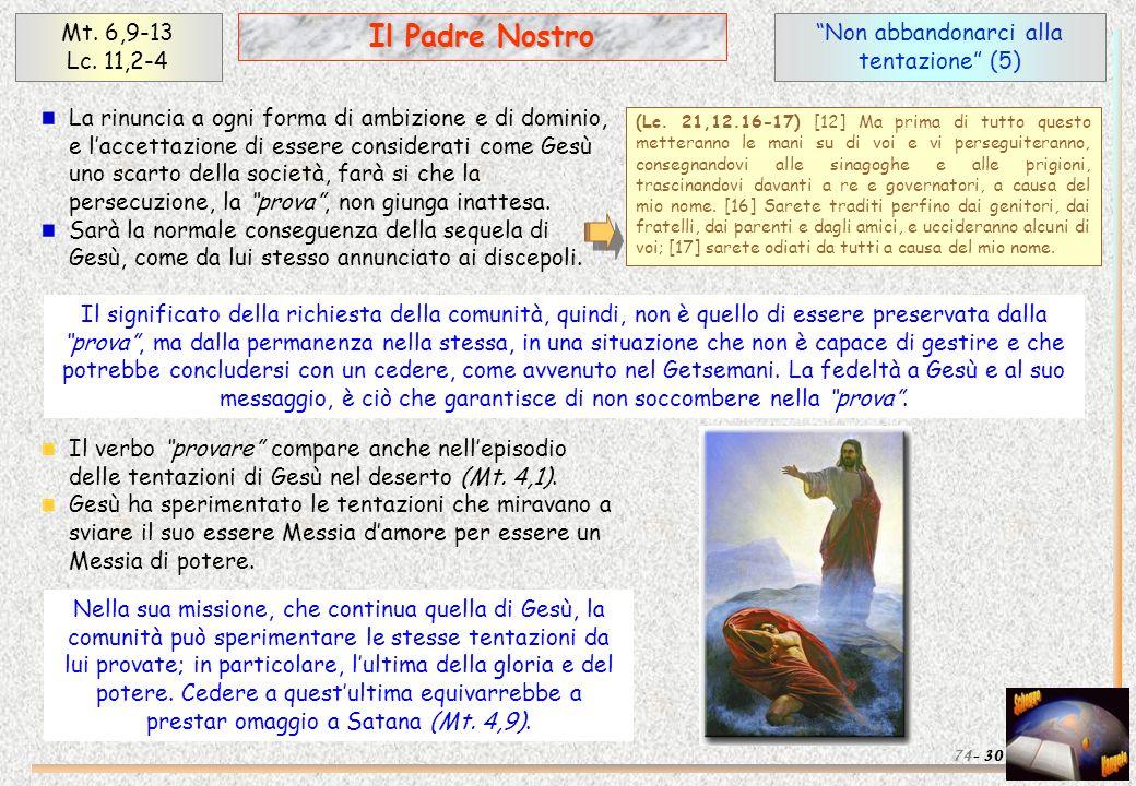 Non abbandonarci alla tentazione (5) 30 Il Padre Nostro Mt. 6,9-13 Lc. 11,2-4 74- La rinuncia a ogni forma di ambizione e di dominio, e laccettazione