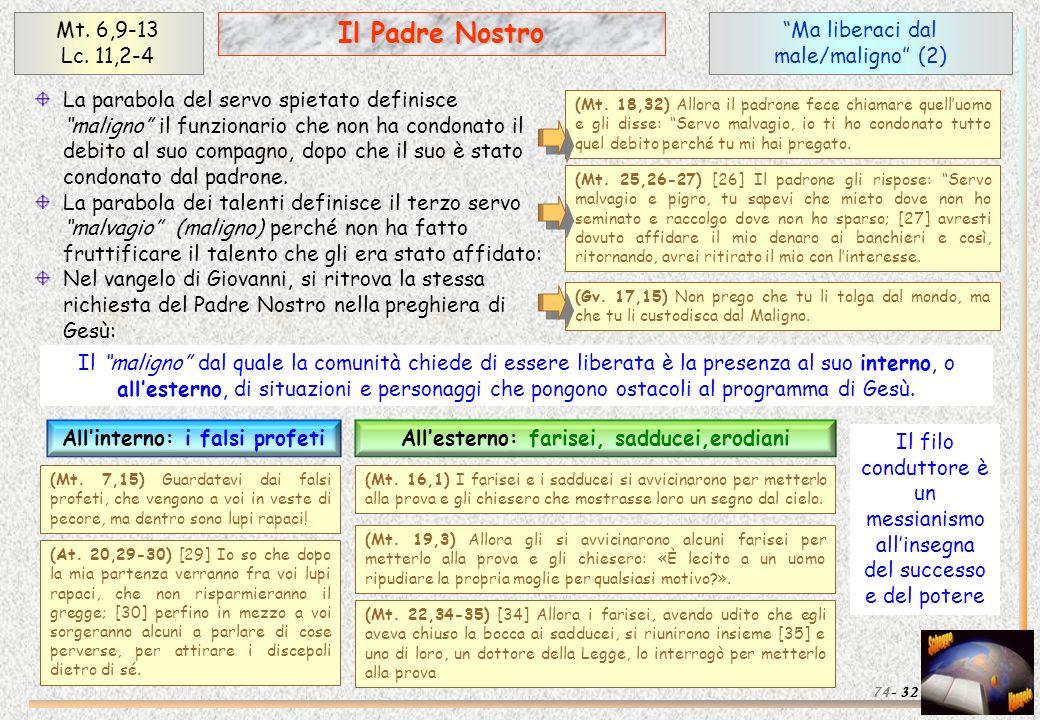 Ma liberaci dal male/maligno (2) 32 Il Padre Nostro Mt. 6,9-13 Lc. 11,2-4 74- La parabola del servo spietato definisce maligno il funzionario che non