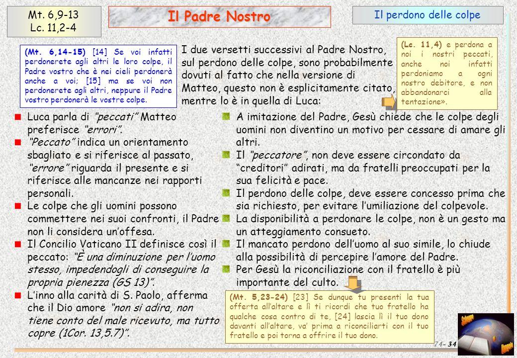 Il perdono delle colpe 34 Il Padre Nostro Mt. 6,9-13 Lc. 11,2-4 74- I due versetti successivi al Padre Nostro, sul perdono delle colpe, sono probabilm