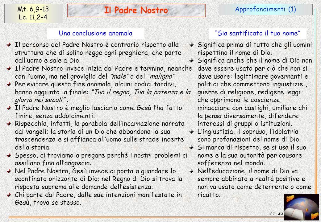 Approfondimenti (1) 35 Il Padre Nostro Mt. 6,9-13 Lc. 11,2-4 74- Il percorso del Padre Nostro è contrario rispetto alla struttura che di solito regge