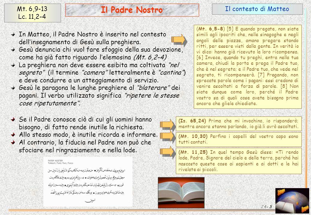 Il contesto di Matteo 5 Il Padre Nostro Mt. 6,9-13 Lc. 11,2-4 74- (Mt. 6,5-8) [5] E quando pregate, non siate simili agli ipocriti che, nelle sinagogh