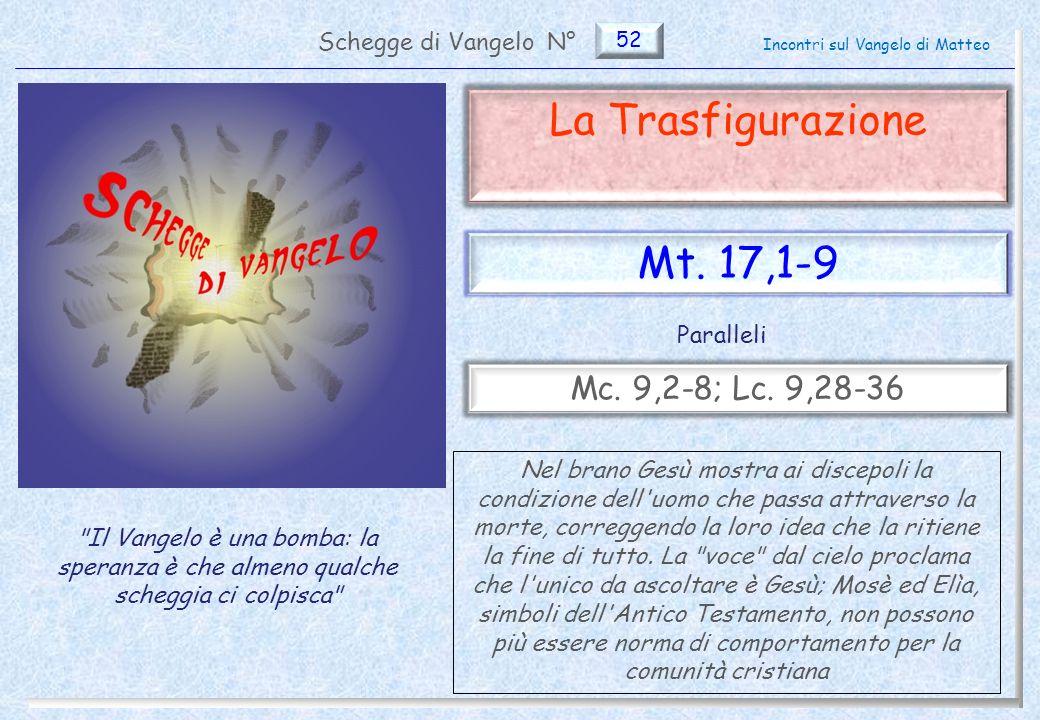 52 La Trasfigurazione (Mt.17,1-9) Non parlate a nessuno - Approfondimento 12 Pag.