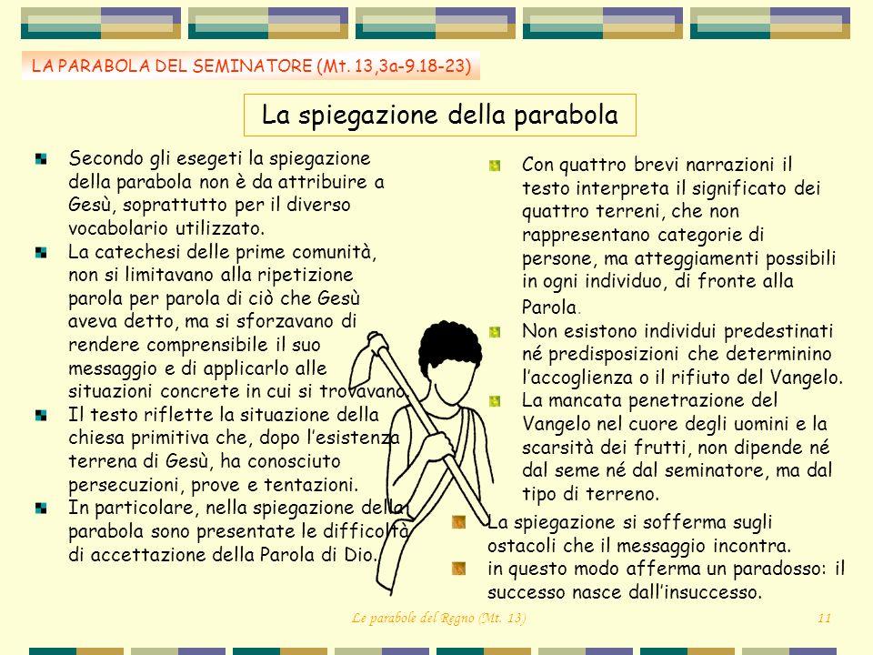 La spiegazione della parabola LA PARABOLA DEL SEMINATORE (Mt. 13,3a-9.18-23) Secondo gli esegeti la spiegazione della parabola non è da attribuire a G