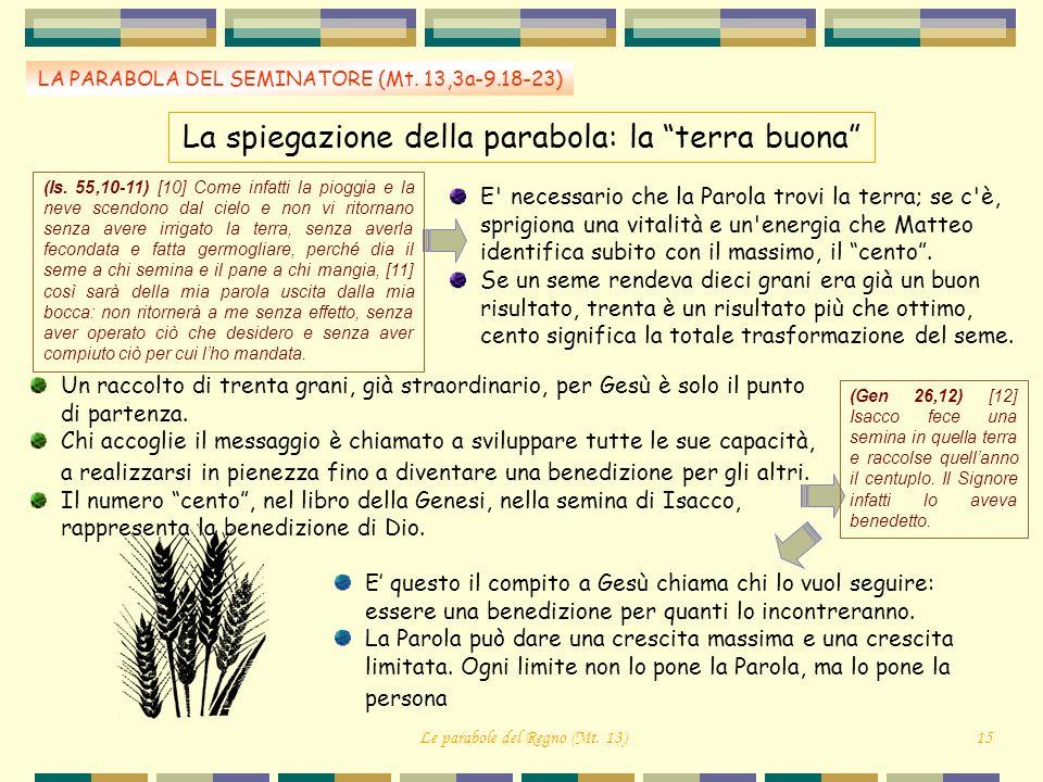 La spiegazione della parabola: la terra buona LA PARABOLA DEL SEMINATORE (Mt. 13,3a-9.18-23) E' necessario che la Parola trovi la terra; se c'è, sprig