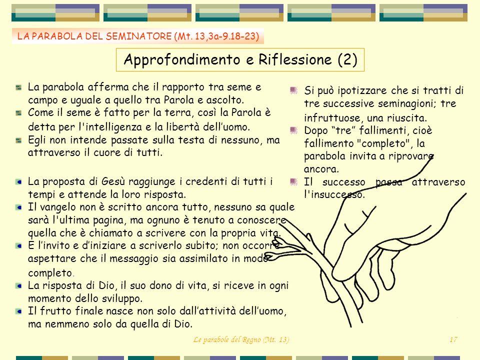 LA PARABOLA DEL SEMINATORE (Mt. 13,3a-9.18-23) Approfondimento e Riflessione (2) La parabola afferma che il rapporto tra seme e campo e uguale a quell