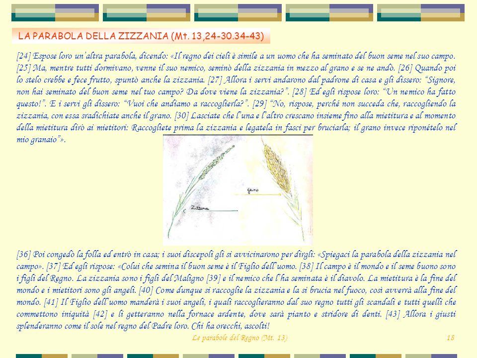 LA PARABOLA DELLA ZIZZANIA (Mt. 13,24-30.34-43) Le parabole del Regno (Mt. 13)18 [24] Espose loro unaltra parabola, dicendo: «Il regno dei cieli è sim