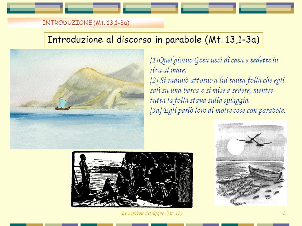 INTRODUZIONE (Mt. 13,1-3a) Introduzione al discorso in parabole (Mt. 13,1-3a) Le parabole del Regno (Mt. 13)2 [1]Quel giorno Gesù uscì di casa e sedet