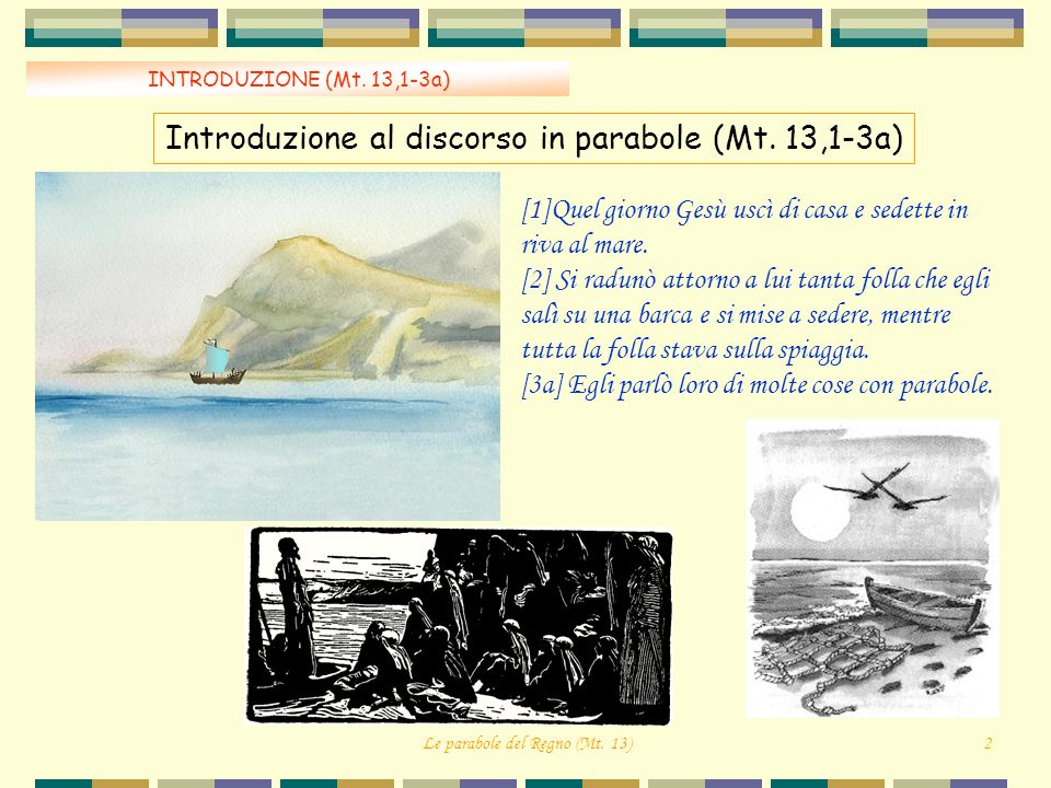 INTRODUZIONE (Mt.13,1-3a) Introduzione al discorso in parabole (Mt.