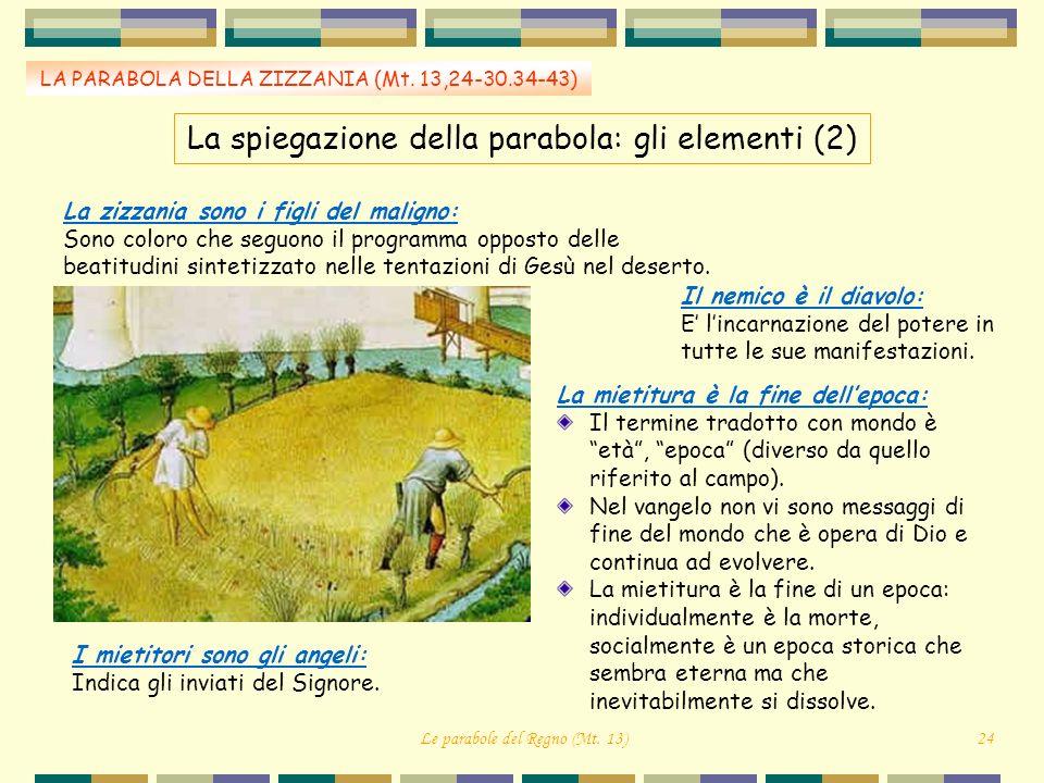 LA PARABOLA DELLA ZIZZANIA (Mt. 13,24-30.34-43) La mietitura è la fine dellepoca: Il termine tradotto con mondo è età, epoca (diverso da quello riferi