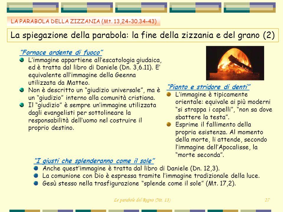 LA PARABOLA DELLA ZIZZANIA (Mt. 13,24-30.34-43) Fornace ardente di fuoco Limmagine appartiene allescatologia giudaica, ed è tratta dal libro di Daniel